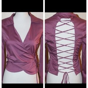 Rampage Wrap Shirt w/Open Back Corset Tie - M